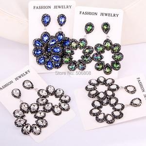 Image 3 - 4 Pairs ZYZ E8219 New Flower Shaped Cat Eye Stone High Quality Rhinestone Round Circle Earrings For Women
