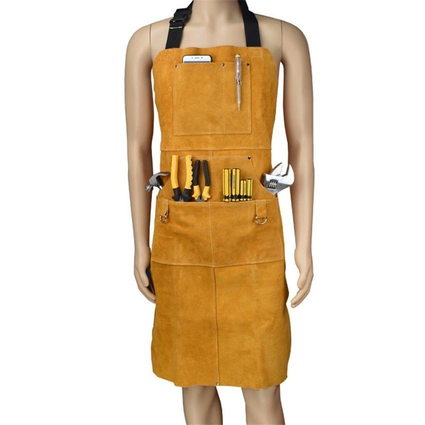 Pure Cowhide Overalls Leather Hand Tool Bags Waterproof Apron Gardening Repair Tool Clothes For Storage Screwdriver Wrench Plier