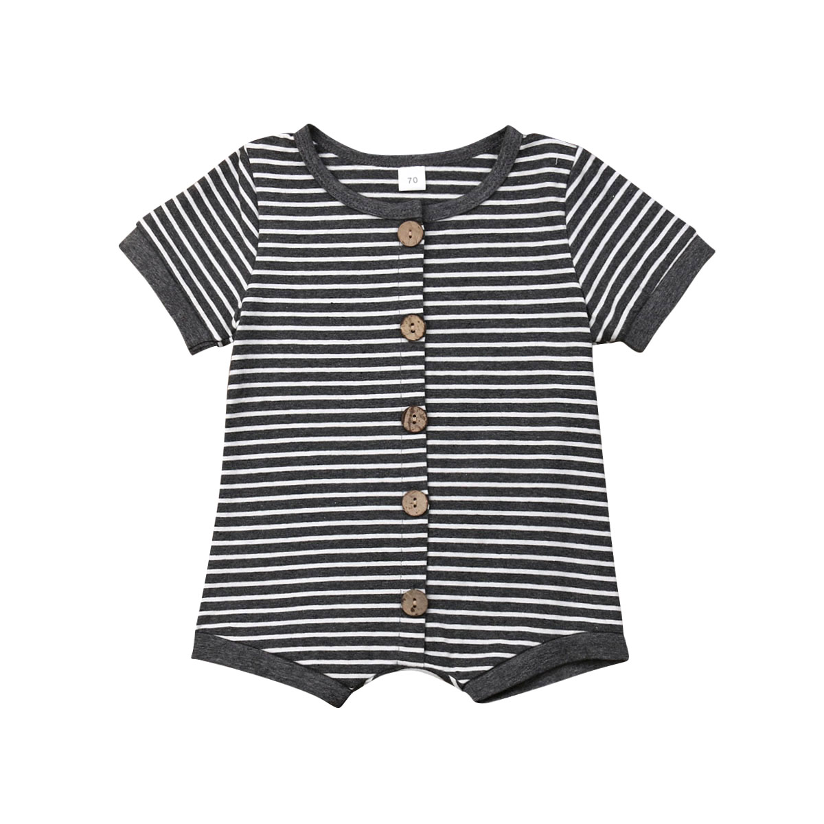 Infant Newborn Baby Boy Girl Stripe   Romper   One-pieces Jumpsuit Button Up Short Sleeve Outfits Coveralls Clothes Summer 2019