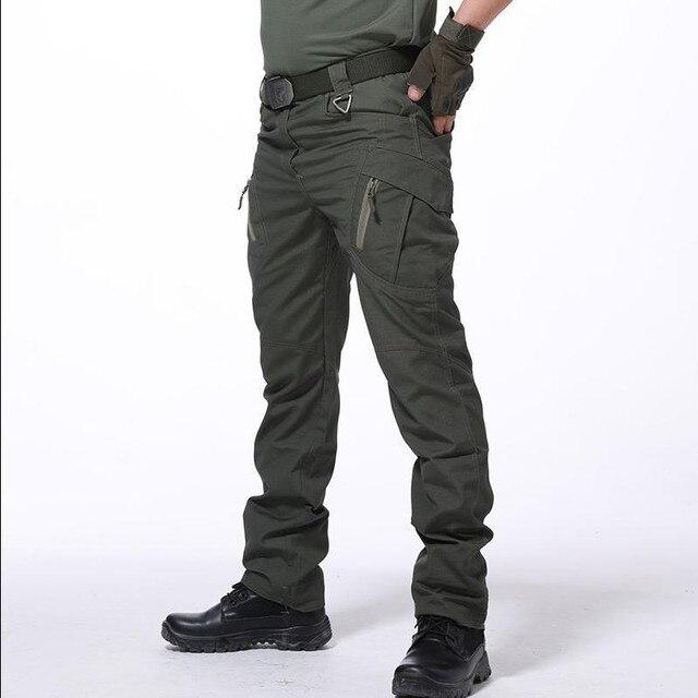 Multi Pocket Urban ยุทธวิธีทหารกางเกงชายกลางแจ้งปีนเขาการฝึกอบรมสวมใส่ Slim ตรงแฟนกองทัพ Cargo กางเกง