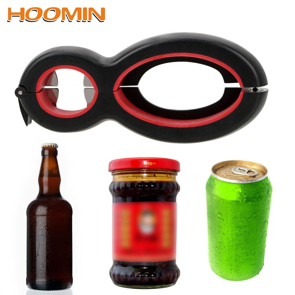 HOOMIN Jar Gripper Can Opener Tin Opener 6 In 1 Multi-Function Plier Seal Clip Beer Soda Bottle Opener Kitchen Tools