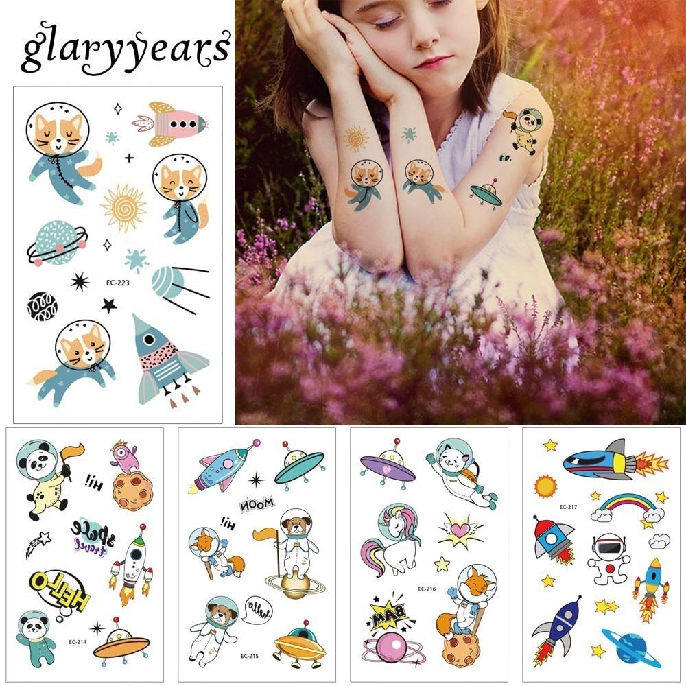 Glaryyears 1 Pc Space Series Temporary Tattoo Sticker Cute Fake Tatoo Animal Flash Tatto Waterproof Small Body Art For Children