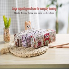 Student canvas large capacity cute pencil case school stationery pencil bag office pencil case