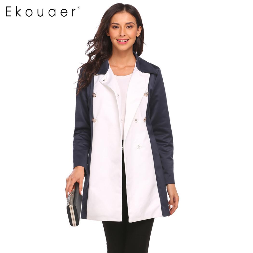 Ekouaer Women Fashion Double Breasted Trench Coats Turn Down
