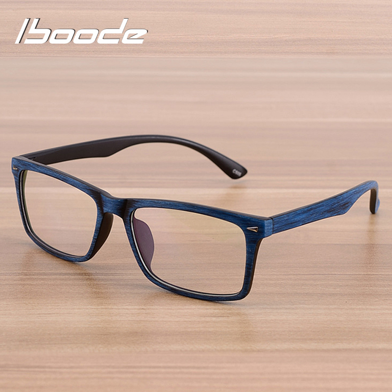 Iboode 2019 Glasses Eyewear Frame Men Women Vintage Imitation Wood Grain Myopia Glasses Spectacles Frames With Clear Lens Retro