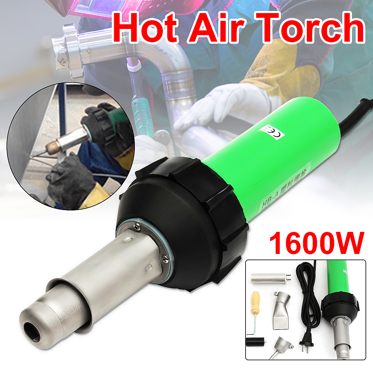 1600W 50Hz Electronic Heat Hot Air Torch Plastic Welding Welder Torch + Nozzle + Pressure Roller 3000Pa