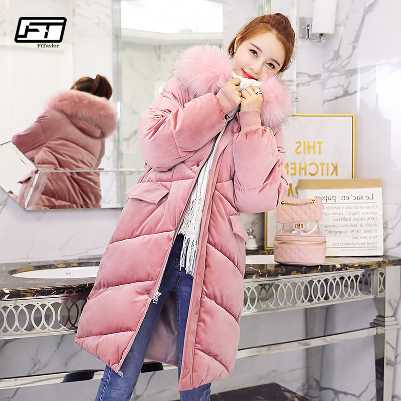 Fitaylor New 2019 Velvet Jacket Female Winter Jacket Women Cotton Wadded Jackets Long   Parkas   Ladies Winter Hooded Coat Women