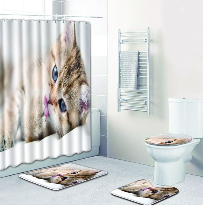 lovely cat printed Shower Curtains Set Polyester Bathroom Curtain 180x180cm With Bathroom Mat Set