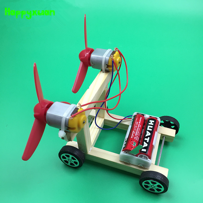 Happyxuan DIY Wind Power Electric Car Kit For Kids Wood Educational Science Physics Experiments Circuit Kindergarten Stem Toys
