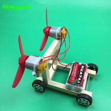 Happyxuan DIY Wind Power Car Model Wood Electric Science Experiments Kit Preschool Kindergarten Stem Education Toys for kids(China)