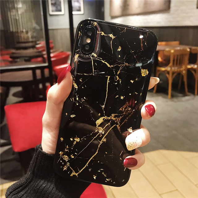 Lovebay Phone Case For iPhone 11 6 6s 7 8 Plus X XR XS Max Luxury Bling Gold Foil Marble Glitter Soft TPU For iPhone 11 Pro Max 5