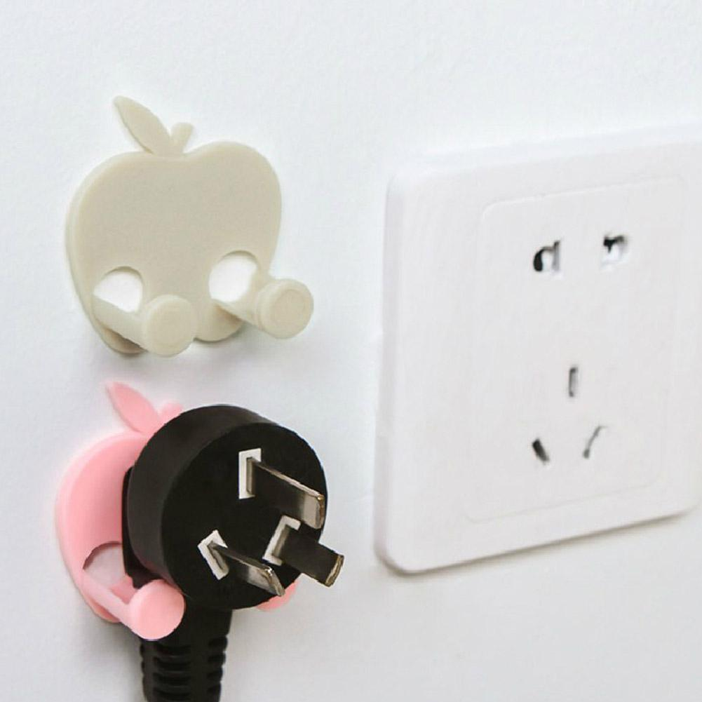 5Pcs/Set Apple Fruit Shape Self Adhesive Plug Holder For Wall Socket Power Cord Storage Home Organizer Power Cord Racks Hooks