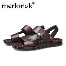 Merkmak Men Sandals Summer Genuine Mens Shoes Fashion  Beach Man Handmade Slippers Flat Breathable Footwear