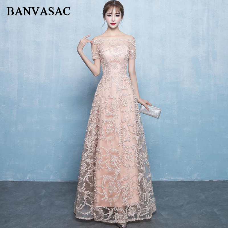 BANVASAC Illusion Boat Neck Lace Appliques Long Evening Dresses Party A Line Short Sleeve Backless Prom Gowns in Evening Dresses from Weddings Events