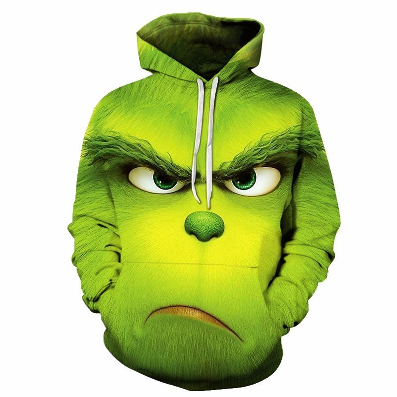 The Grinch 3D Printed Cosplay Hooded Sweatshirt Man Women Jacket  Grinch Full Face Hoodies Cartoon Coat