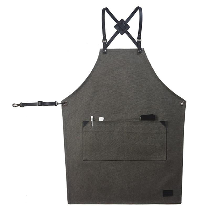 Ev ve Bahçe'ten Önlükler'de Siyah gri tuval önlük deri kayış kuaför berber çiçekçi iş elbisesi Barista barmen fırıncı pasta Waitstaff üniforma D92'da  Grup 1