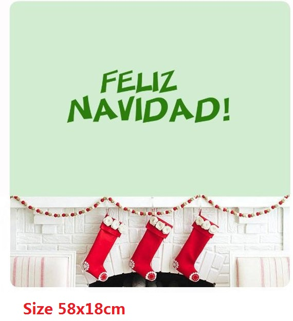 Feliz Navidad Song Christmas Spanish We Wish You a Merry Christmas Wall Decal Sticker Art Mural Quote Happy Holidays Home Decor image