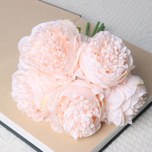 5 Heads Artificial Flowers Peony Bouquet Silk Bridal Fall Vivid Fake For Wedding Home Decoration
