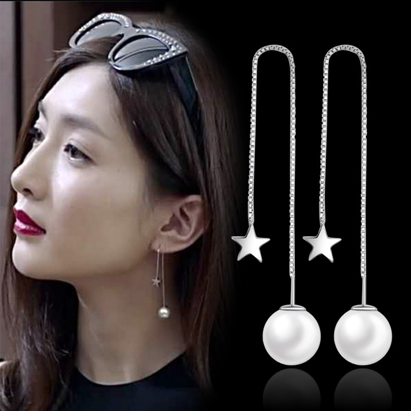 2016 Neue Weihnachten Geschenke Silber-farbe Simulierte Perle Anhänger Lange Erklärung Ohrringe Für Frauen Hochzeit Schmuck Zubehör Neueste Technik