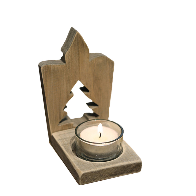 Candle Tealight Wooden Hollow Rustic Holder Stand Ornament for Decoration Christmas Desk Dinner