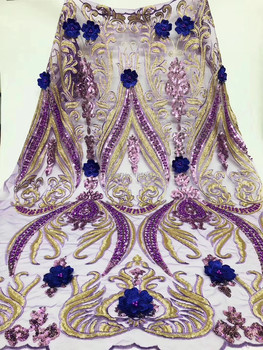 New Beads/Sequins Lace Fabrics For Wedding 2019, African French Lace Fabric High Quality 3D Lace,Purple Gold Blue Lace Applique