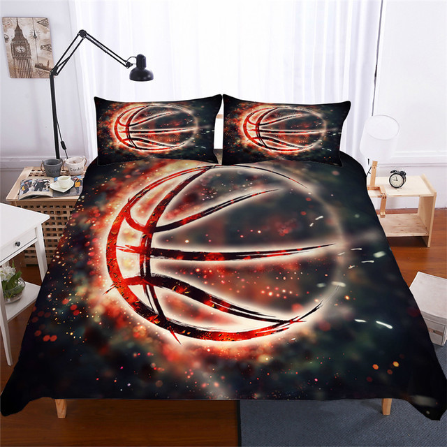 طقم سرير 3D لحاف مطبوع غطاء طقم سرير كرة السلة المنسوجات المنزلية للبالغين نابض بالحياة أغطية مع المخدة # LQ02