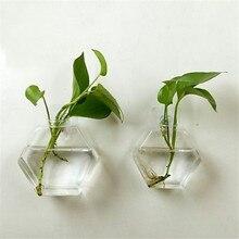 Nueva maceta de flores colgante de vidrio florero Vintage creativo Terrario de la pared del tanque de peces recipiente acuario planta hidropónica transparente florero