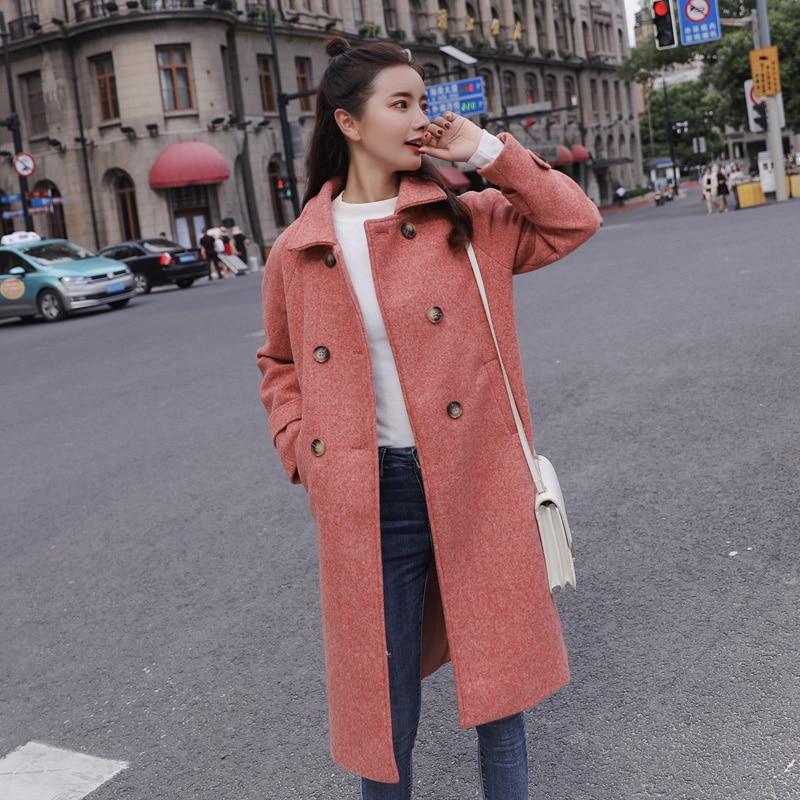 Giacca Nuovo Fuori Cappotto Di 2018 Misto Donne pink Doppio Sigle Modo Delle Femminile Casual Del blue Al Lana Green Lungo Petto Inverno vPvq6Ewx8