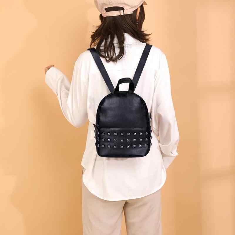 Moda rebite mochila feminina couro do plutônio casual estilo preppy meninas sacos de ombro mochila viagem para estudante universitário meninas