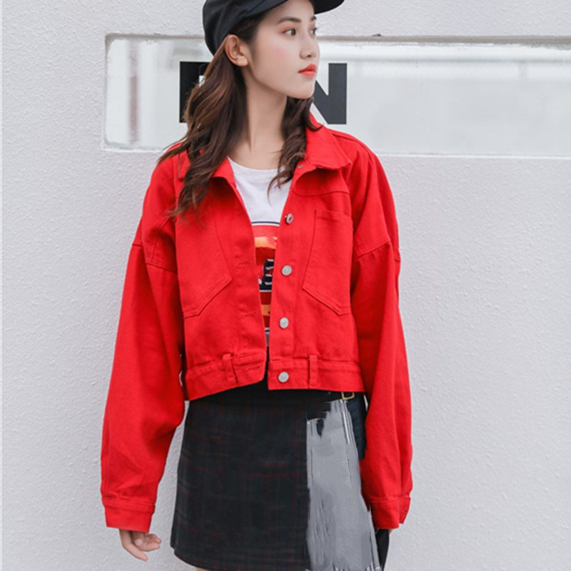 Vintage Boyfriend Short Jeans Jacket Loose Women Oversized Crop Denim Jackets Casual Turn Down Collar Long Sleeve Jacket Coat in Jackets from Women 39 s Clothing