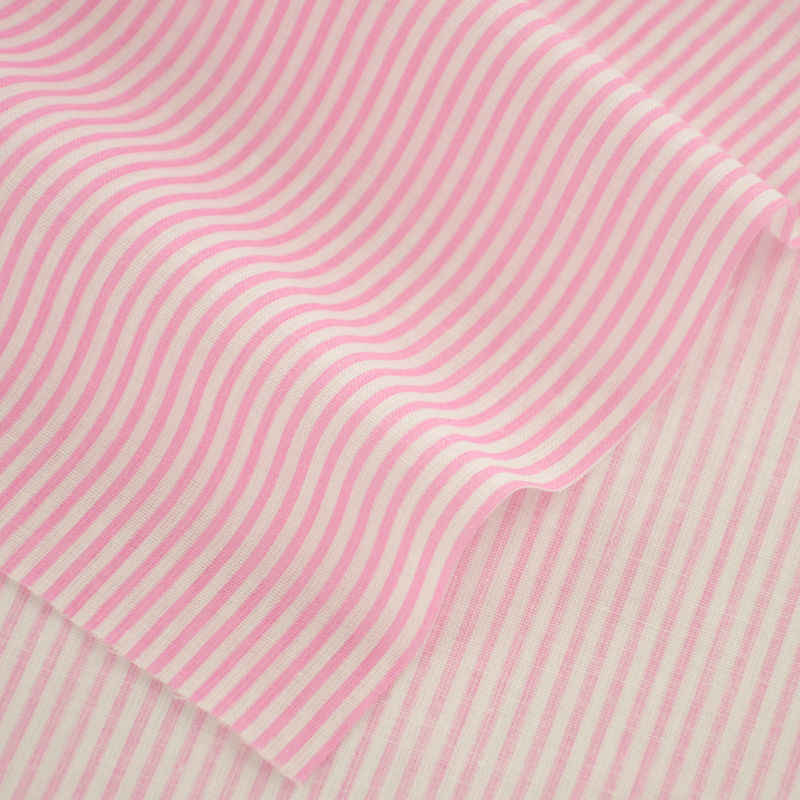 Cotton Fabrics Sewing Pink and White Stripes Designs Printed Textile for Doll Crafts Clothing Srt Work Fabrics Dress Fat Quarter
