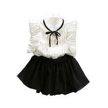 купить Fashion Baby Girls Clothes Sets Summer Girls Stripe Sleeveless Shirt Chiffon Culottes Two Pieces Set Clothes Skirt Suit дешево
