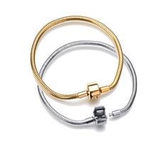 316L Серебро Золото Нержавеющая сталь змейка цепь звено Браслет Подходит Европейский Шарм бренд браслет для женщин DIY ювелирных изделий 17-21 см