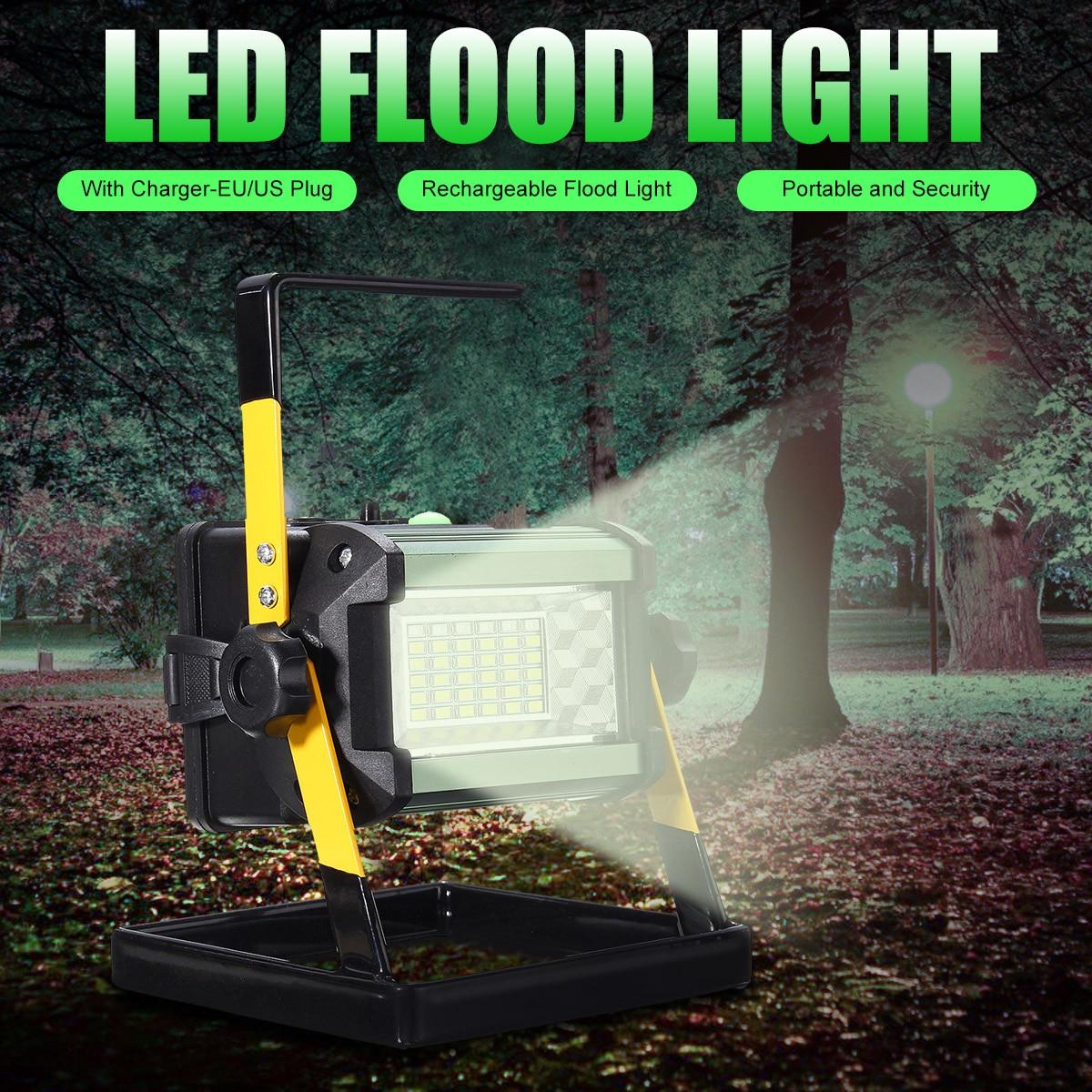 Led Flood Light Flashing: 50W Rechargeable Flood Spot Light 36LED EU/US Plug Camping