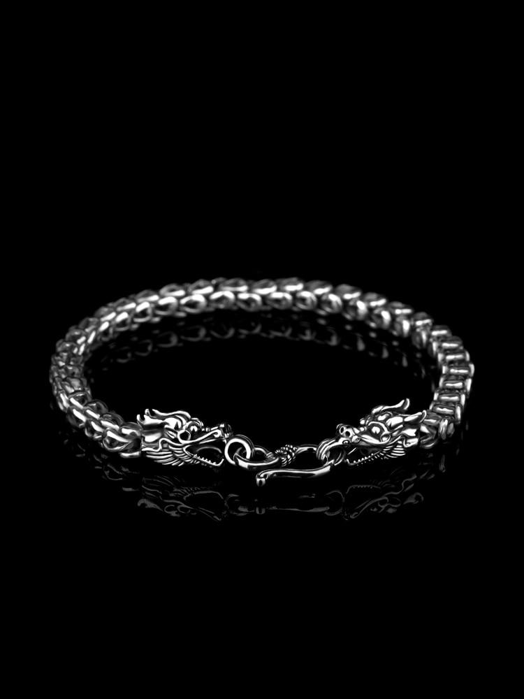 Nouveau 2019 Vintage argent Bracelets pour homme 925 bijoux en argent Sterling Dragon chaîne Bracelet longueur 20 cm avec boîte-cadeau gratuite