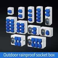 Toma de agua de lluvia al aire libre tres agujeros 10A casa montado en la pared multifunción al aire libre caja de enchufe de carga de coche eléctrico