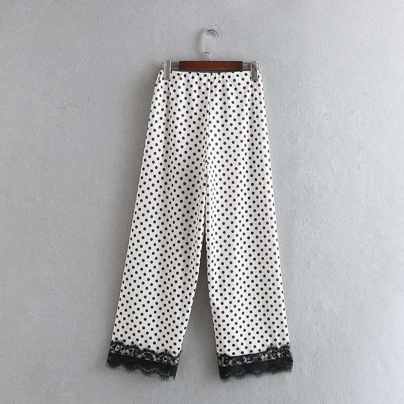 Simple White Black Polka Dot   Wide     Leg     Pants   Women Patchwork Lace Long Loose   Pants
