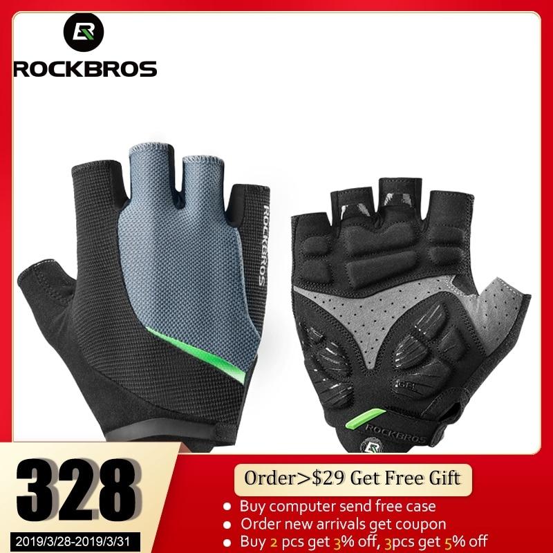 ROCKBROS Cycling Bike Bicycle Gloves Half Finger Gel Anti-Shock Breathable Elastic Bicycle Gloves MTB Motorcycle Sports Gloves