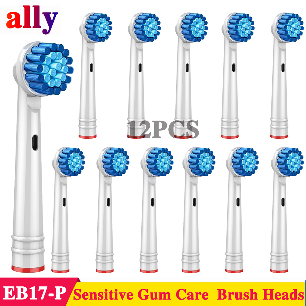 12X EB17 Sensitive Gum Care Electric toothbrush heads Replacement For Braun Oral B Vitality D12013 pro690 Electric toothbrush image