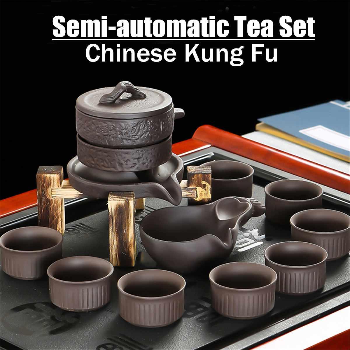 11 pièces/ensemble en céramique semi-automatique violet argile thé ensembles chinois Kung Fu théière Teacup infuseur pichet tasse cadeaux de cérémonie
