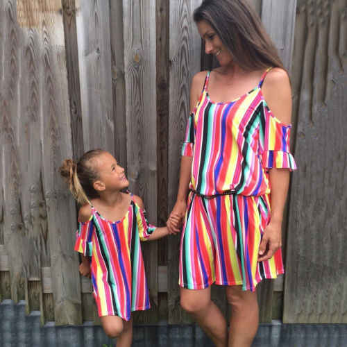 81c8707cb1 Family Matching Mother Daughter Kids Girls Summer Sling Striped Boho Strip  Sleeveless Dress Outfits Clothes