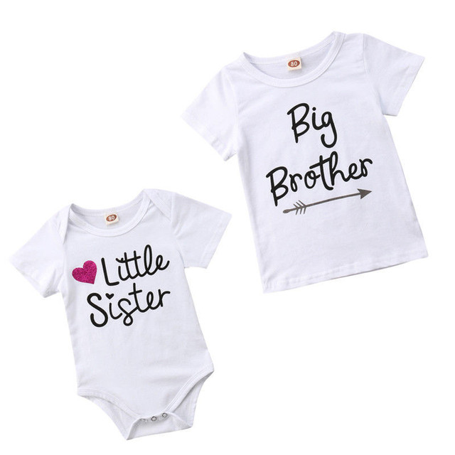 3581b07ce2 Family Matching Kids Baby Little Sister Short Sleeve Letters Rompers  Bodysuit Big Brother Cotton T-shirt Tops Kids Boys Clothing