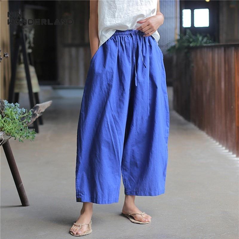 NINI WONDERLAND Spring Summer Casual Harem Pants 2020 Women Ramie Cotton Ankle Length Trousers Radish Pants Elastic Waist  Solid