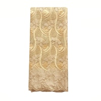 Gold Nigerian Lace Fabric 2018 High Quality Embroidered Lace Fabric with Beads Swiss Net Polyester 2019 Latest Party Lace Fabric
