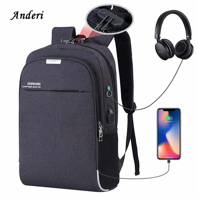 Anderi USB Charging Laptop Backpack 15.6 inch Anti Theft Women Men School  Bags For Teenage Girls 6e4dd8d864275