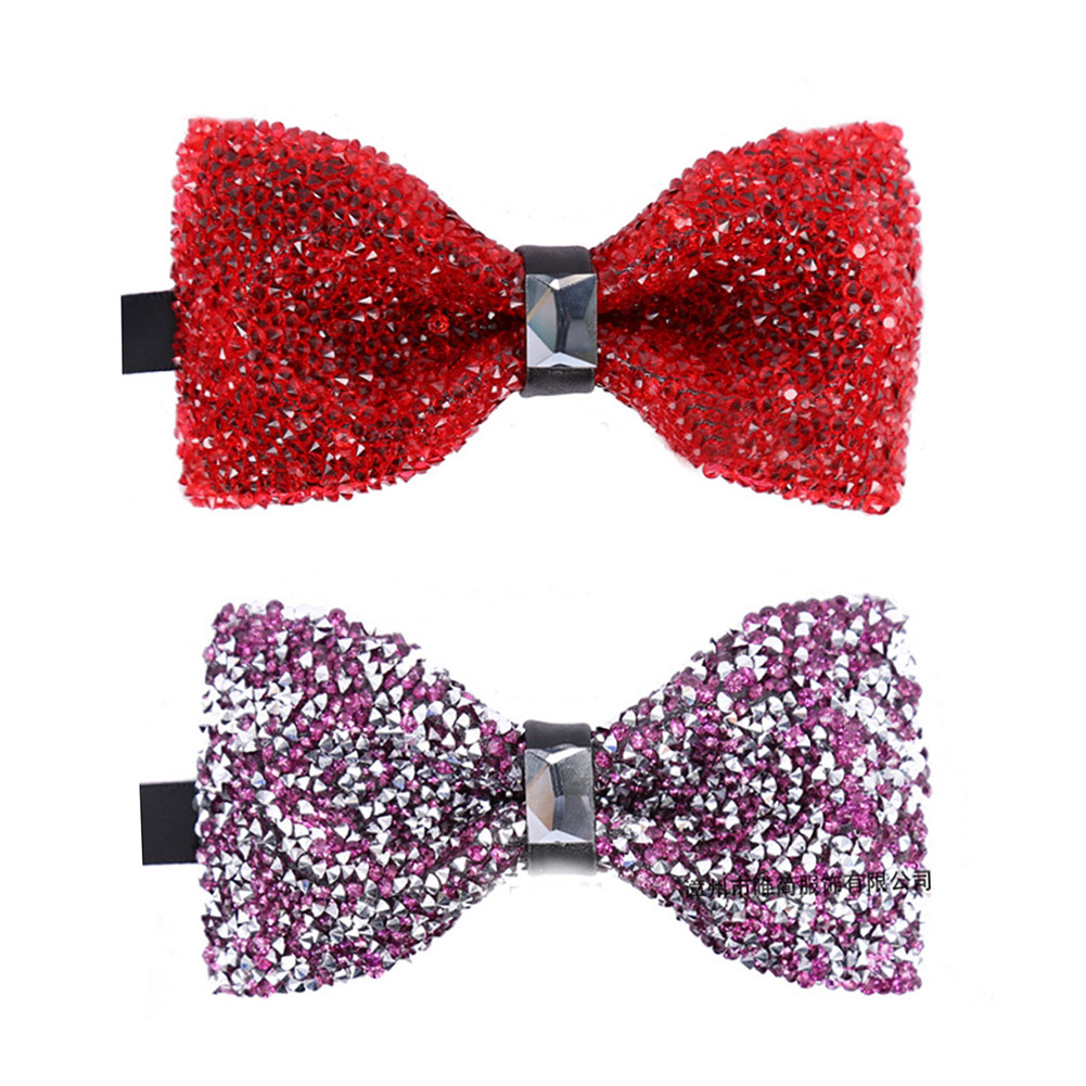 Fashion Shining Crystal Bling Rhinestone Starry Bow Ties For Men Butterfly Knot Bridegroom Wedding Ties Party Nightclub Neckties