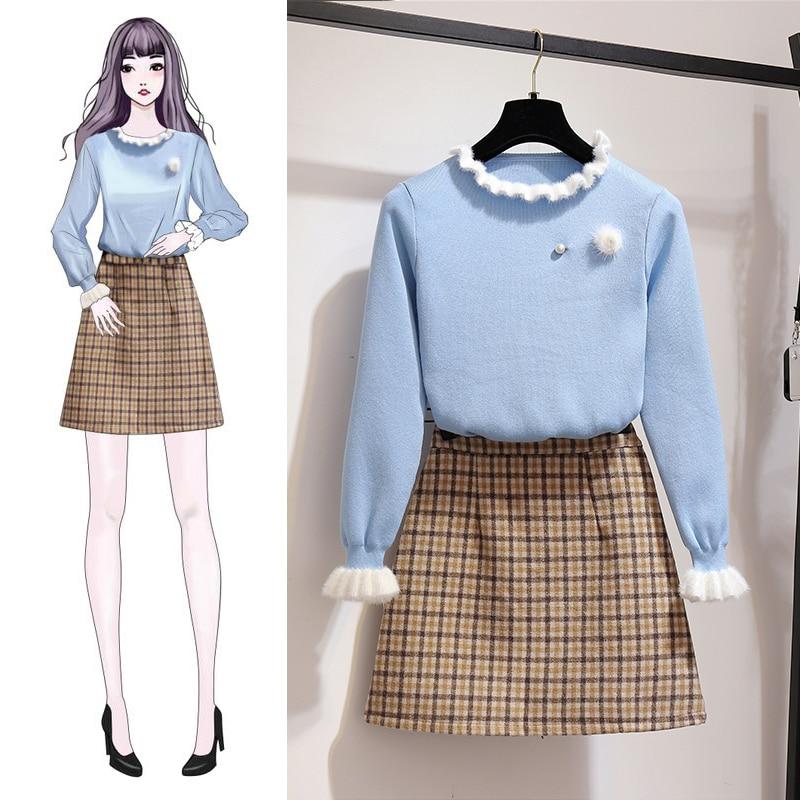 Automne costume femmes chaud pull pull col roulé deux pièces grille tissu de laine buste jupe vêtements ensemble pull en tricot design S M L