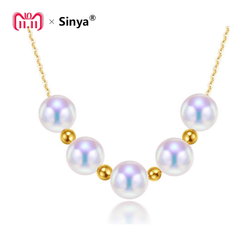 Sinya Cute 18k gold beads Natural Round Pearls necklace for ladies women mom girls gift with 45cm au750 gold chains best gift sinya real diamond southsea golden pearl pendant 18k gold necklace choker include au750 gold chains for women mum girls gift