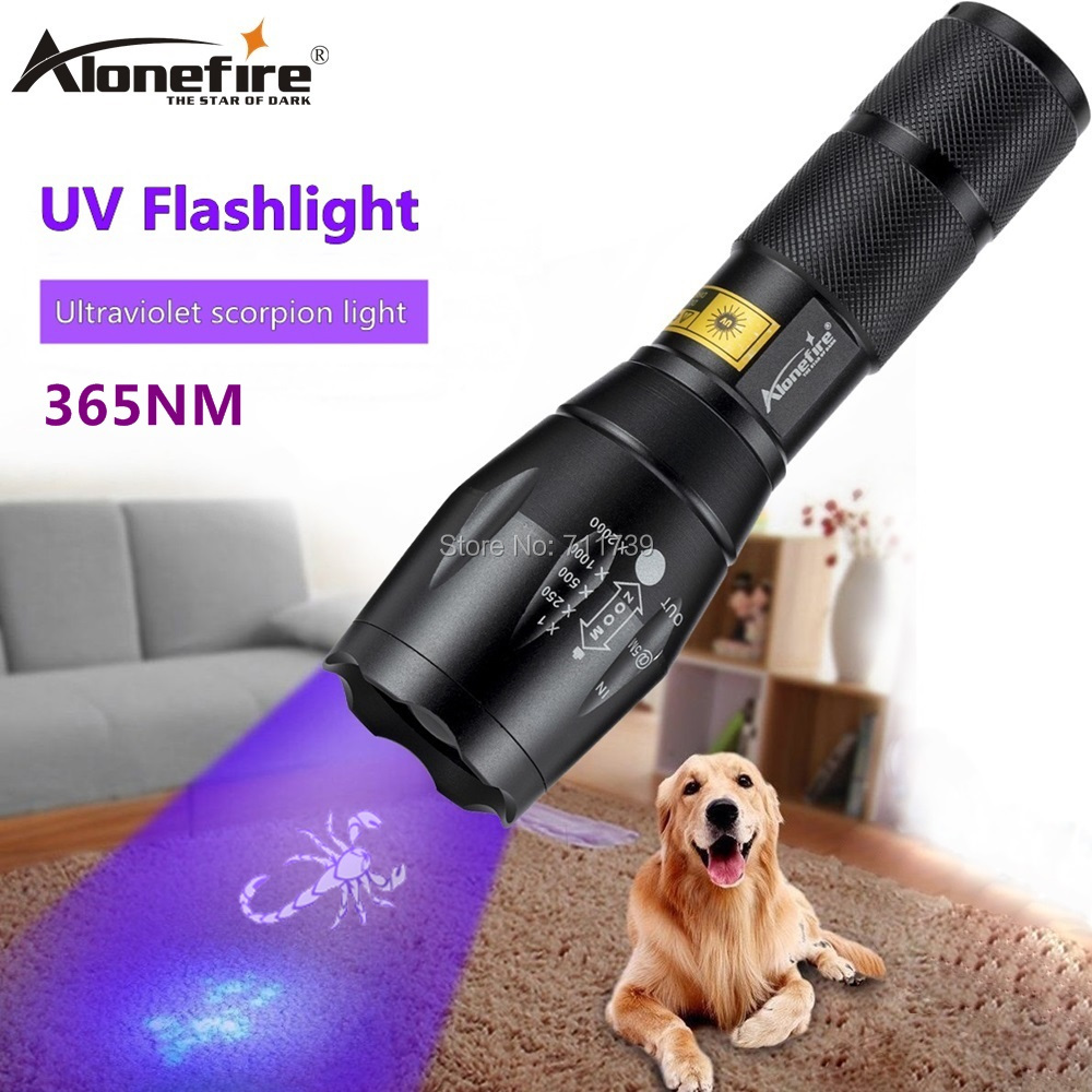 AloneFire E17 UV Led Flashlight 365nm Ultraviolet Zoomable Invisible Cat Dog Pet Stains Hunting Marker Checker AAA 18650 battery