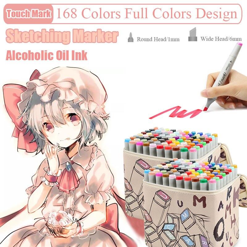 168 couleurs à base d'alcool Double tête Art marqueurs Animation conception croquis pinceau stylo pour dessin école bureau Art fournitures